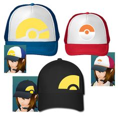 Hats inspired by pokemon go, trainer hats from pokemon go.  Made to order
