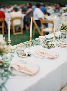 Gorgeous outdoor blush and gold head table.   Photography: Michael And Carina Photography - www.michaelandcarina.com  Read More: http://www.stylemepretty.com/2015/01/07/whimsical-blush-and-gold-alfresco-wedding/