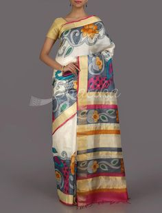 Neeti Big Bold Bel #HandPainted #KosaSilkSaree