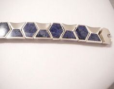 Sterling-Silver-Blue-Lapis-Taxco-Bracelet-950-Mexican-Silver-73-5g-Mexico
