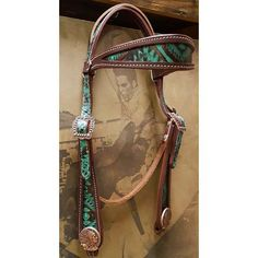 Diamond A Cowboy Turquoise Aztec Indian Head Concho Headstall