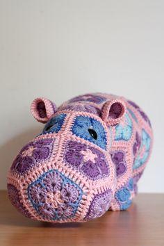 """""""Happypotamus the Happy Hippo. African flower crochet toy. Pattern by Heidi Bears."""" Rhian- it's a HIPPONOPONUS!!"""