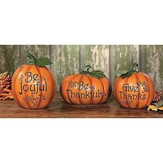 You will be set with this Thanksgiving pumpkin set for the true meaing of Thanksgiving! NEW Carved Thanksgiving Pumpkin Set  Decorative Accessories FREE SHIPPING #OrientalTradingCompany