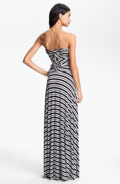 Strapless Stripe Maxi Dress
