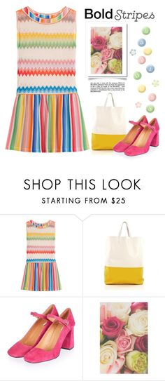 """""""Bold Stripes in the Spring"""" by conch-lady ❤ liked on Polyvore featuring H&M, Missoni Mare, CÉLINE, Topshop, Green & Spring, BoldStripes, oversizeddress and TopshopGossipFlareHeelMaryJanes"""
