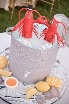 Lobster pot cake. Hilarious. Chickadee Hill Cakes. Photography by jana-williams.com,