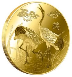 Niue 2014 $25 Koi Crane 1/4oz Gold Proof. Birds have always been seen as symbols of inspiration and freedom. In Feng Shui, the ability to fly is closely associated with the ability to serve as a messenger from heaven. Images of Cranes may often be found in Feng Shui artwork. Known as the Prince of all birds, the Crane symbolizes longevity, energy and even immortality because of its long lifespan and untiring strength in flight. In ancient Chinese legends, Cranes carried the spirits of the…