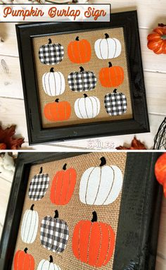 Fall Pumpkin Burlap Sign with FOUR Kinds of HTV (Including Buffalo Check!) is part of Diy fall - Learn how to make this simple pumpkin burlap sign that's perfect for fall! It's a reverse canvas that uses FOUR kinds of HTV, including Buffalo check! Fun Diy Crafts, Fall Crafts, Holiday Crafts, Fall Craft Fairs, Easter Crafts, Sewing Crafts, Fall Wood Signs, Burlap Signs, Fall Decor Signs