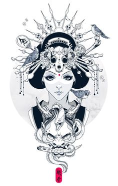 Portrait Illustration Hannya - Wisdom gained through meditation. Geisha Tattoos, Geisha Tattoo Design, Samurai Tattoo, Samurai Art, Tattoo Drawings, Art Drawings, Hannya Tattoo, Geisha Art, Geisha Drawing