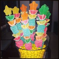 Tropical Fruit Candy Kabob Skewers by CandybarCouture on Etsy Moana Birthday Party, Luau Party, Birthday Parties, Candy Kabobs, Fruit Skewers, Kebabs, Chocolate Strawberry Cake, Chocolate Strawberries, Candy Party