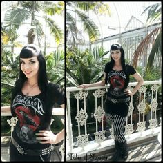 """Lindsay of Sheaves: """"Metal Morticia Addams""""-I couldn't help but feel like Morticia inside this beautiful Victorian greenhouse! Moonsorrow metal band t-shirt, black skirt, studded belt with chains and wolf belt buckle, black & white striped leggings, and black buckled boots. #lindsayofsheaves"""