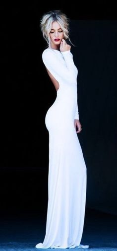 dress, open back, long, long sleeve, glamourous, white, slim, evening dress, ball gown