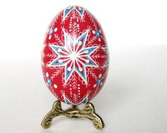 blue and red pysanka