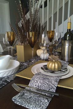 Autumn Tablescape / Thanksgiving Table / Fall Decor / - Contemporary Place Setting