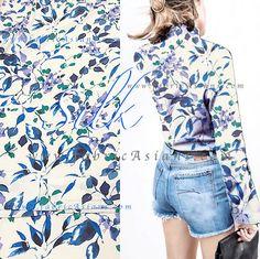Blue White Liberty Fabric. Blue Floral Silk.  SSZ101388