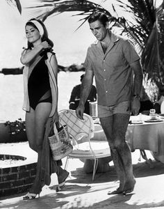Claudine Auger and Sean Connery on the set of THUNDERBALL (1965)