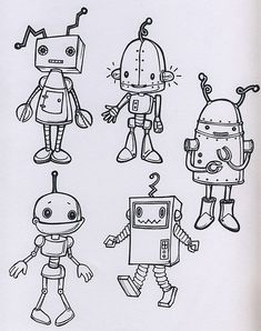 robots | robot drawings for fabric design | Star Primm | Flickr