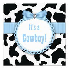 Black Blue Cowboy Baby Boy Shower Invitations