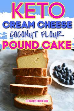 Keto cream cheese coconut flour pound cake is delicious low carb cream cheese pound cake that is grain-free, gluten-free, sugar-free, nut-free and flat-out delicious. Keto Cupcakes, Keto Cake, Keto Cookies, Vegan Cake, Ketogenic Desserts, Keto Foods, Keto Snacks, Diabetic Snacks, Paleo Diet