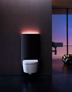 Simple, elegant and futuristic toilet with built-in light.