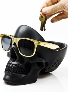 """Tidy Skull"" Organizer (Black) - A perfect place for your sunglasses, keys, change, wallet, etc..."