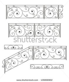 Vector set: wrought iron stairs railing, fence and grilles  isolated on white background