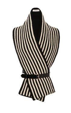 Shop Shetland Stripe Scarf With Leather Harness by Bouchra Jarrar - Moda Operandi