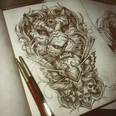 Tiger neo traditional tattoo sketch