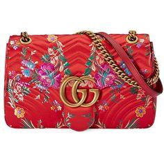 Gucci GG Marmont Medium Jacquard Shoulder Bag (£1,465) ❤ liked on Polyvore featuring bags, handbags, shoulder bags, red metallic, quilted shoulder bag, floral purse, chain shoulder bag, floral handbags and red handbags