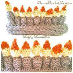 Hannukah's Menora Free Tutorial By AnnooCrochet Designs Holiday Crochet, Hannukah, Crochet Projects, Cocoa, Free, Christmas, Amigurumi, Xmas, Navidad