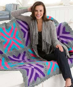 Twelve Star Throw - Free Crochet Afghan Pattern (would be a great gift for a teen! Motifs Afghans, Crochet Motifs, Crochet Quilt, Afghan Crochet Patterns, Crochet Squares, Crochet Crafts, Crochet Yarn, Crochet Stitches, Crochet Projects