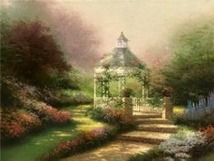 Hidden Gazebo: If you and I were to walk together along the old Plantation Road north of New Orleans, I could take you to the very spot that inspired the Hidden Gazebo. Perhaps the stairs which lead to the hidden gazebo will carry us to a quiet place of prayer and inspiration. — Thomas Kinkade. January 1994