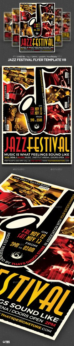 Jazz Festival Flyer Template V8 by lou606 1 Photoshop psd file, 1 help file.A4 size (21×29.7 cm) or (8.3×11.7 inch) with bleed (21.6×30.3 cm) or (8.5×11.9 inch). Print Read