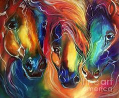 Abstract Art - Color My World With Horses  by Marcia Baldwin