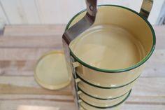 New Thai Vintage Style Creme Yellow Enamel Pinto set