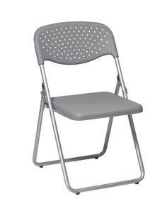 Office Star Work Smart Folding Chair with Grey Plastic Seat and Back and Silver Frame. Public Seating, Office Seating, Office Chairs, Dining Room Chairs, Dining Room Furniture, Side Chairs, Plastic Folding Chairs, Folding Tables, Office Star
