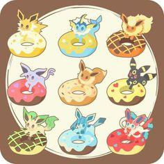 Pokemon donuts by リズ Pokemon Fusion, Gif Pokemon, Pokemon Fan Art, Chibi Kawaii, Anime Kawaii, Kawaii Drawings, Cute Drawings, Pokemon Mignon, Pet Anime