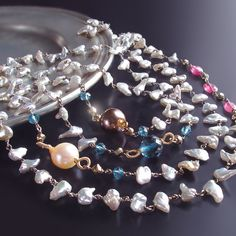 Long Japanese Saltwater Keishi Pearl Necklace by BijouxOdalisque, $542.00