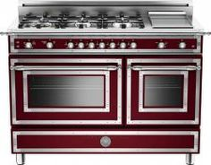 bertazzoni 48 inch gas range with 6 sealed brass burners cu main convection oven manual clean electric griddle and storage