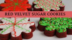 Sugar Cookie Recipes ~ 6 Cakes & More, LLC I have the best recipe on how to make the perfect No Chill, No Spread, Soft, Red Velvet Sugar Cookies just for you! My Royal Icing recipe is included! No Spread Sugar Cookie Recipe, Cream Cheese Sugar Cookies, Butter Sugar Cookies, Cinnamon Sugar Cookies, Sugar Cookies Recipe, Cookie Flavors, Cookie Recipes, Cookie Ideas, Cookie Tips