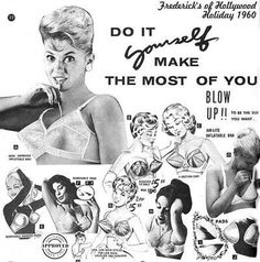 Cheaper than implants! The inflatable bra from Frederick's of Hollywood Holiday catalog 1960.