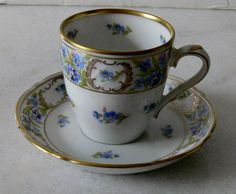 Antique fine bone china tea cup and saucer Schumann Forget Me Not Bavaria.