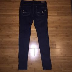 Dark blue jeans NEW! Dark blue American Eagle skinny fit jeans (jegging material) new! Worn once! American Eagle Outfitters Jeans Skinny