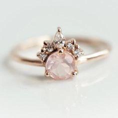 Crown Wedding Ring, Crown Engagement Ring, Quartz Engagement Ring, Silver Wedding Rings, Cluster Engagement Rings, Pink Ring, Pink Diamond Ring, Teardrop Ring, Diamond Crown
