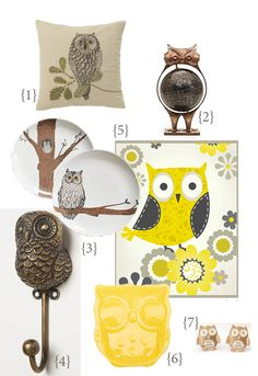 decor trend: owl-themed acessories. Who knew the owl collection would re-cycle. Shades of the 70's. Ever read the Preppy Handbook?