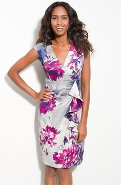Donna Ricco Printed Charmeuse Sheath Dress from Nordstrom