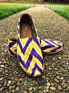 LSU CHEVRON TOMS. High School College Pro by pinstripesNparasols, $90.00 East Carolina University, Louisiana State University, Ecu Pirates, Toms Shoes Outlet, Chevron Toms, Lsu Tigers, Painted Shoes, Mellow Yellow, High School