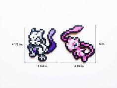 Pokemon Perler Mewtwo / Mew / Mega Mewtwo X and by ShowMeYourBits
