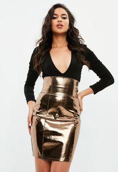Missguided - Gold Super High Waist Metallic Skirt
