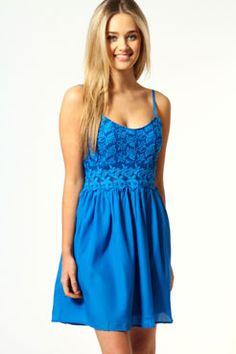 sarah strappy lace waist skater dress